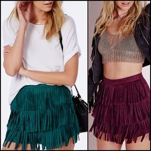 🆕️ MISGUIDED Jade Faux Suede Fringe Shorts!